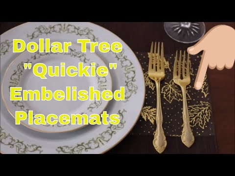 Dollar Tree Quickie 😉 Embellished Placemats DIY 🍂