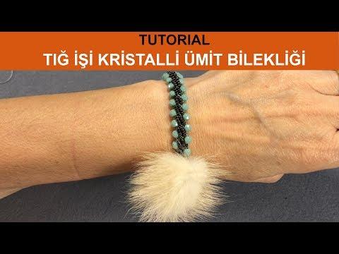 Tığ İşi Kristalli Ümit Bilekliği (Turkish Crochet Crystal Hope Bracelet)