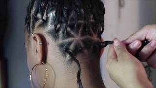 Triangle Part Box Braids   Rubberband Method   Ombre Red Box Braids Tutorial
