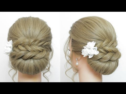 Updo Hairstyles: Low Bun With Fishtail Braid And Twist.