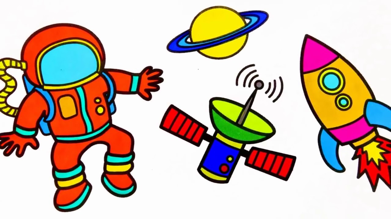 How To Draw Astronaut Coloring Pages For Kids Learn Colors Youtube