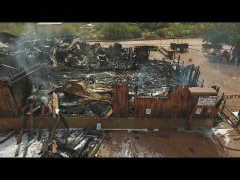 RAW: Drone Video Of Mining Camp Restaurant After Fire
