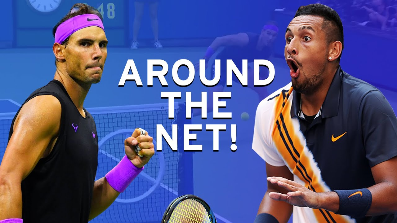 Nine times players went AROUND the net at the US Open! 🤯