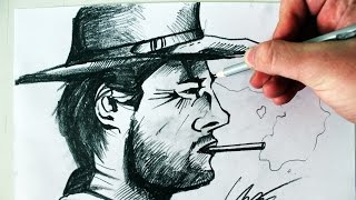 Desenhando o Homem sem Nome [Clint Eastwood character] - (Drawing Clint) - SLAY DESENHOS #195