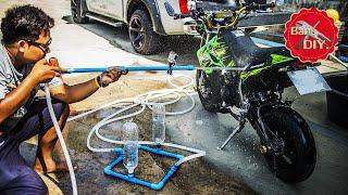ปืนฉีดน้ำแรงดันไม่ใช้ไฟฟ้า (ภาคทดสอบ) | Water gun Bottle pressure|Diy By ช่างแบงค์