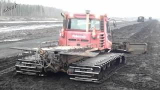 Работа ратрака, Pisten Bully 200 на болотах.