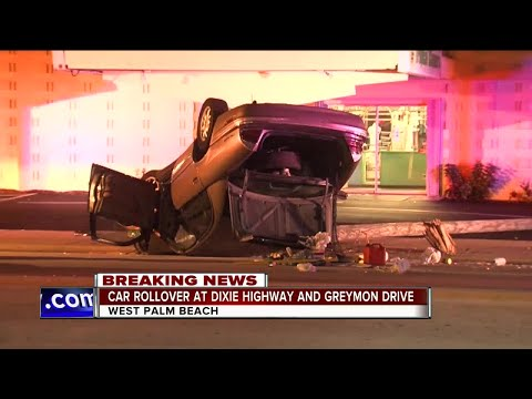 Car flips on roof, takes out two street lights in West Palm Beach