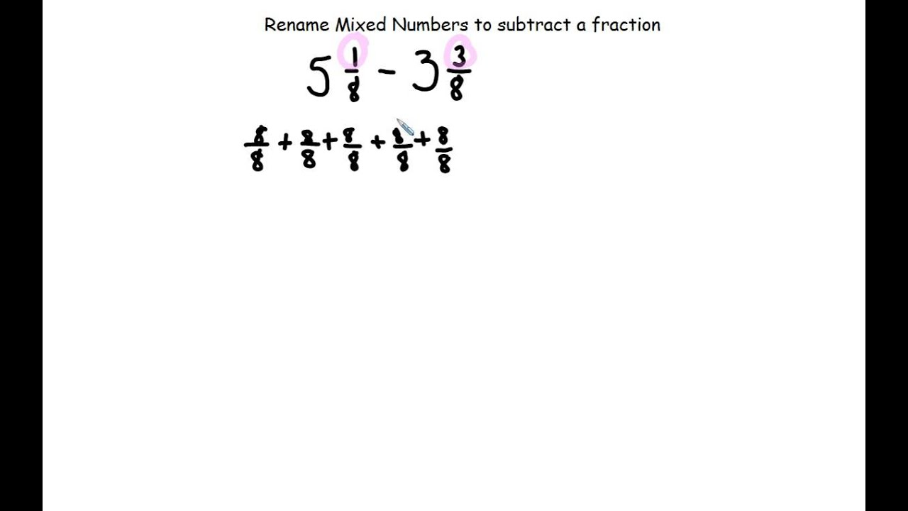 Regrouping Mixed Numbers To Subtract Fractions