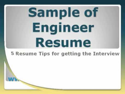 Sample Of Engineer Resume  Youtube