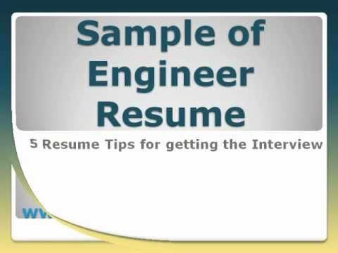 Sample of Engineer Resume - YouTube
