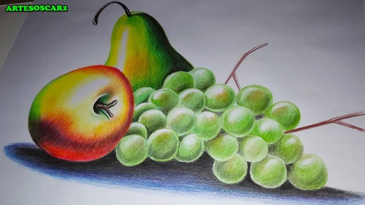 Como Dibujar Bodegones Como Dibujar Frutas Con Lapices De Colores