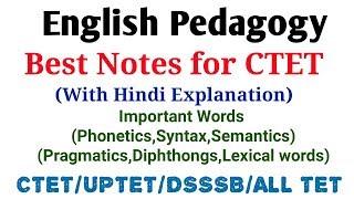 English Pedagogy- Important Words(Phonetics,Syntax,Semantics,Diphthongs,Lexical word)