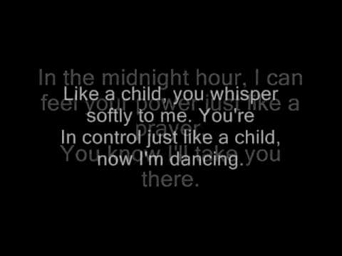 Madonna - Like a prayer with lyrics on screen.