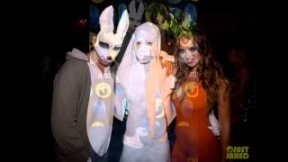 Keleigh Sperry Dress as a Bunny & Carrot at Just Jared's Halloween Party