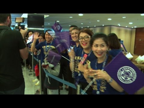 Heroes' welcome for Leicester City in Thailand