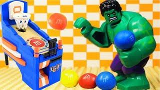 LEGO Hulk Plays Arcade Basketball ft. M&M's 🏀 | Stopmotion