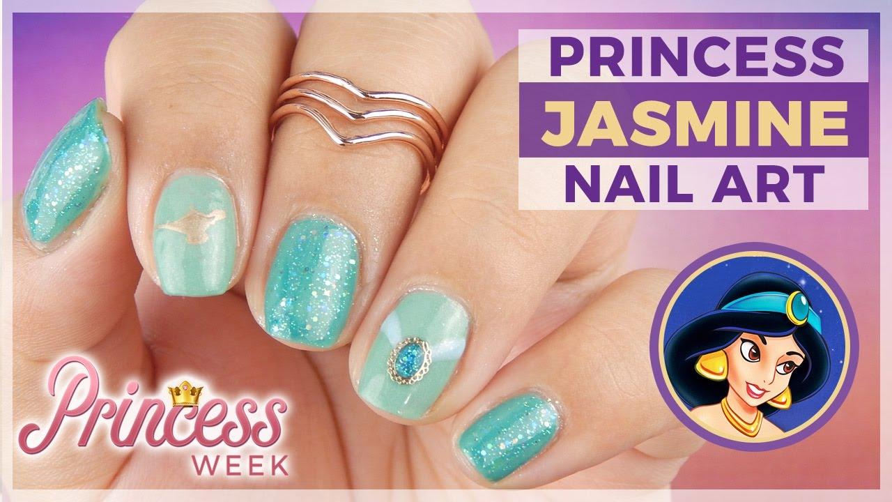 Princess Week: Princess Jasmine from Aladdin Nail Art Design - YouTube