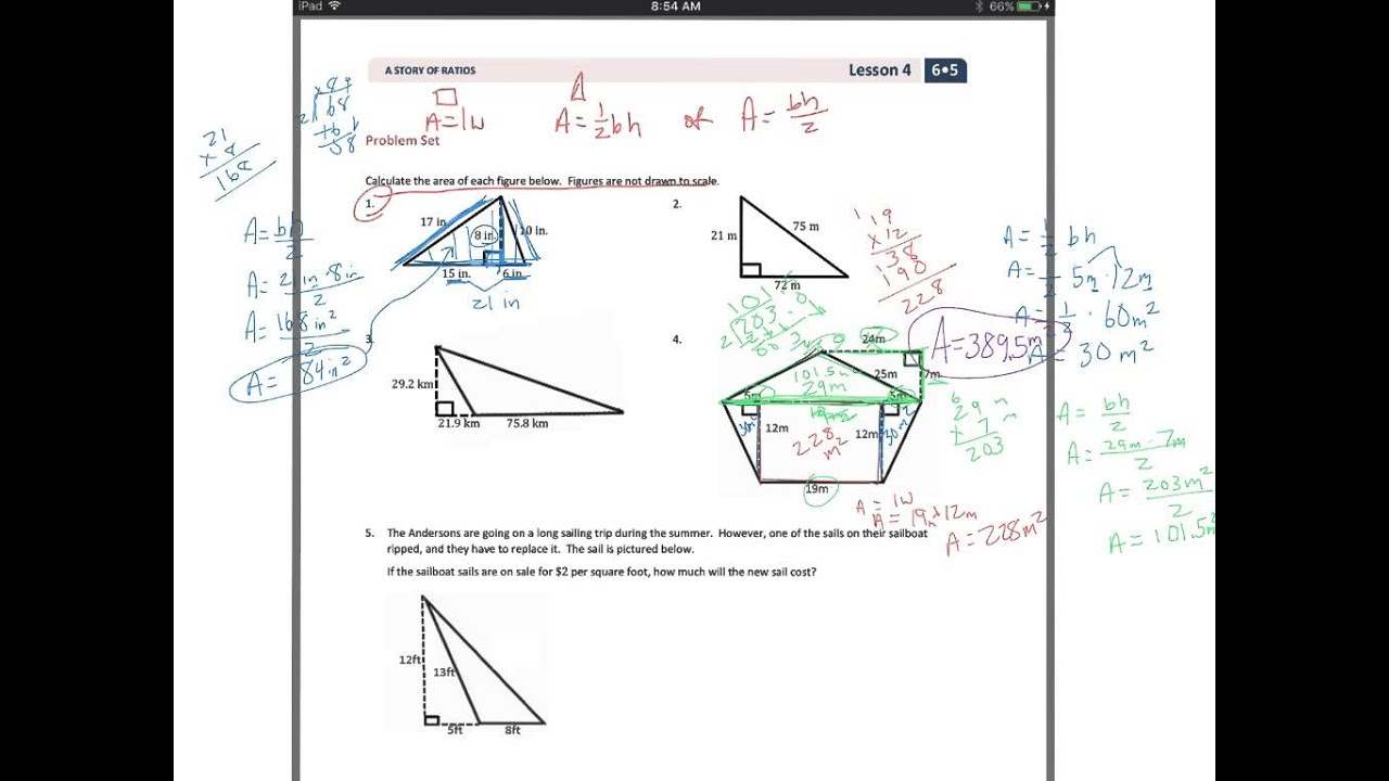 The Area of Obtuse Triangles Using Height and Base (solutions