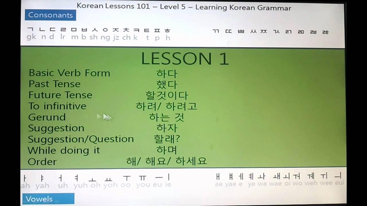 All about korean grammar