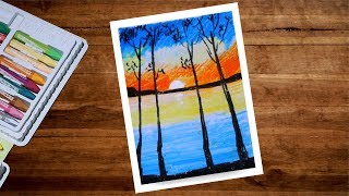 Sunset Scenery Drawing With Oil Pastel | Sunset Drawing For Beginners | Oil Pastel Drawing