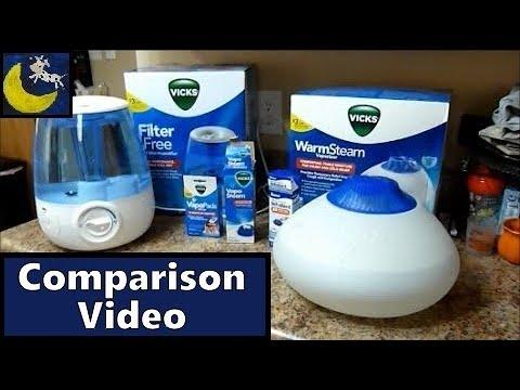 Vicks Warm Steam Vaporizer Vs FilterFree Cool Mist Humidifier with VapoPads, VapoSteam & Kaz