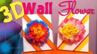 Diy 3d Wall Flower Canvas Art :: Tissue Paper Flowers :: 2cupsofdelight