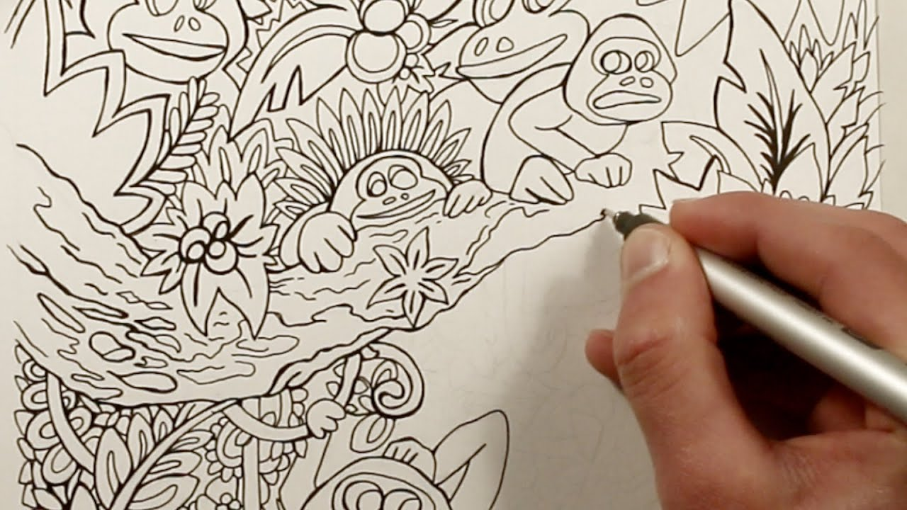 drawing monkeys in the jungle coloring book youtube