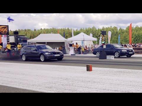 Audi S6 C4 2.2TQ vs BMW 335d E91 1/4 mile drag race
