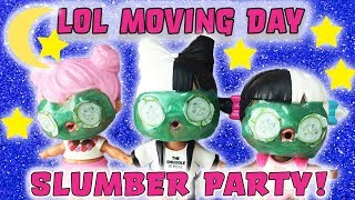LOL Surprise Dolls HUGE Dollhouse | Moving Day Part Three | Slumber Party w Baby Next Door & Dawn!