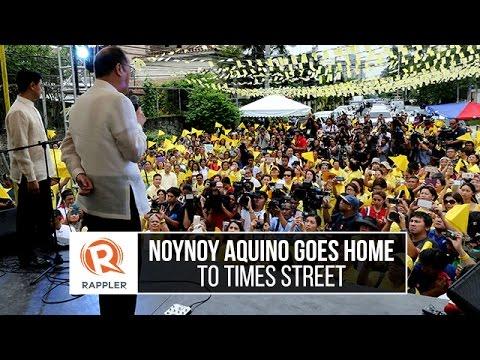 Noynoy Aquino goes home to Times Street