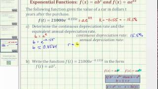 Ex: Find Annual Depreciation Rate Given f(t) ae (kt)
