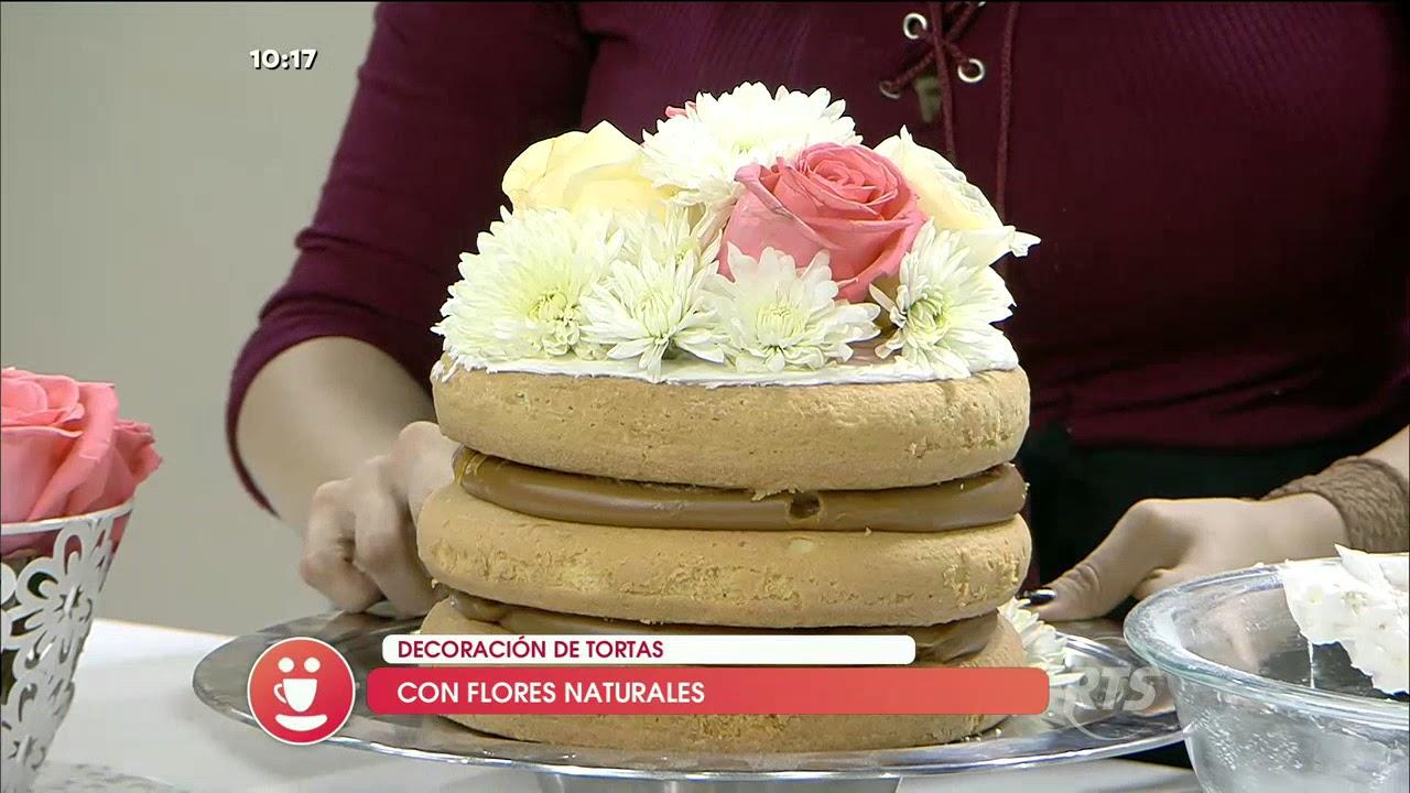 Decoracion De Tortas Con Flores Naturales Youtube