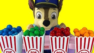 Gumball Popcorn Surprise Toys Paw Patrol Baby Chase Chickaletta Learn Colors Fun for Kids