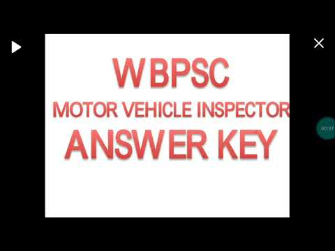 Motor Vehicle Inspector Answer key