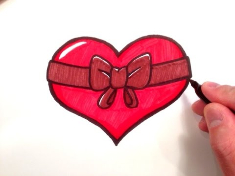 how to draw a heart with a bow youtube