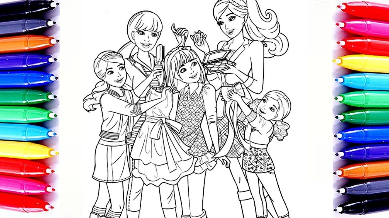 Barbie Chelsea And Her Sisters Coloring Book Pages Sparkling Glitter Color For Children To Learn
