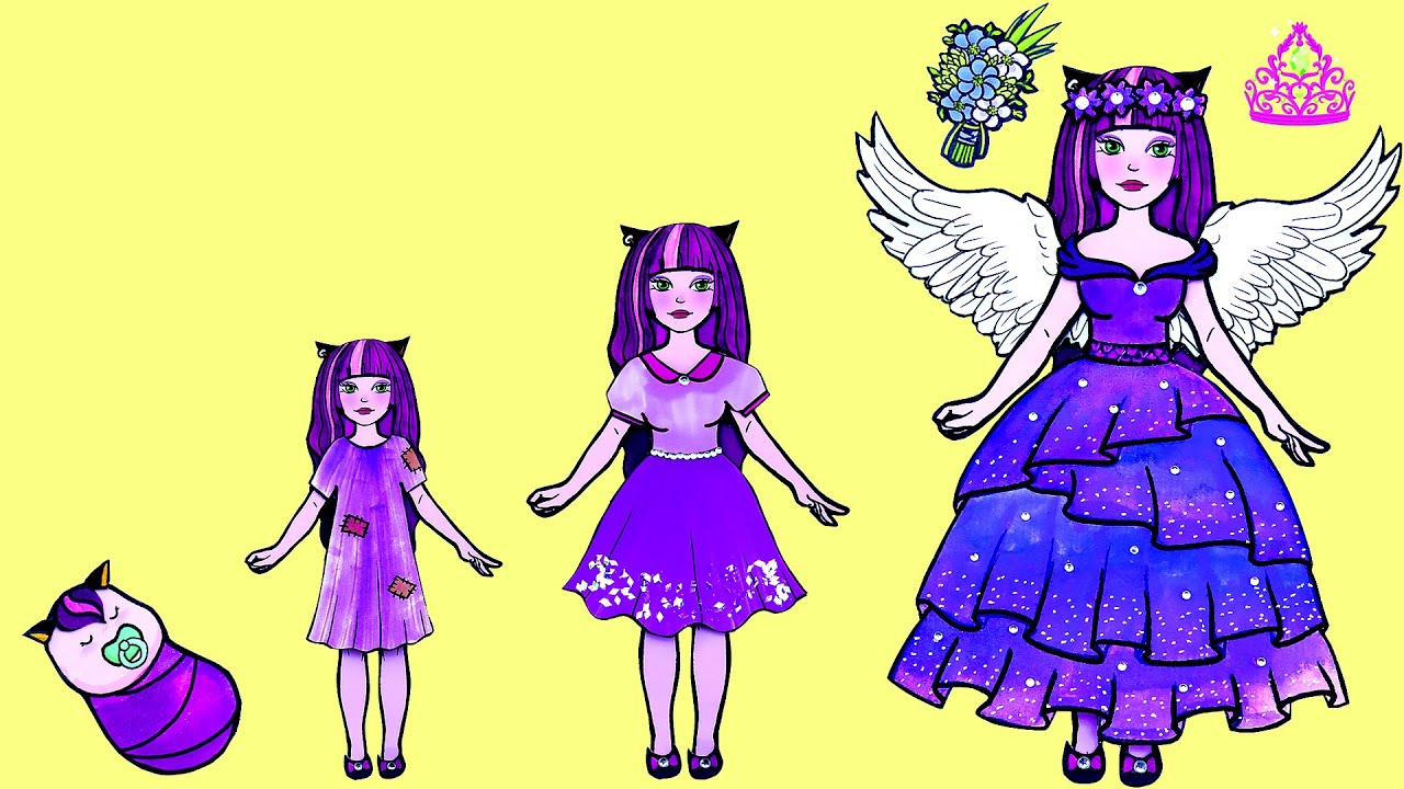 Paper Dolls Dress Up - Good Girl or Bad Girl Dresses Handmade Quiet Book - Barbie Story & Crafts