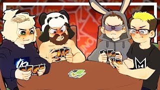 4 grown men get way too excited over a card game - UNO