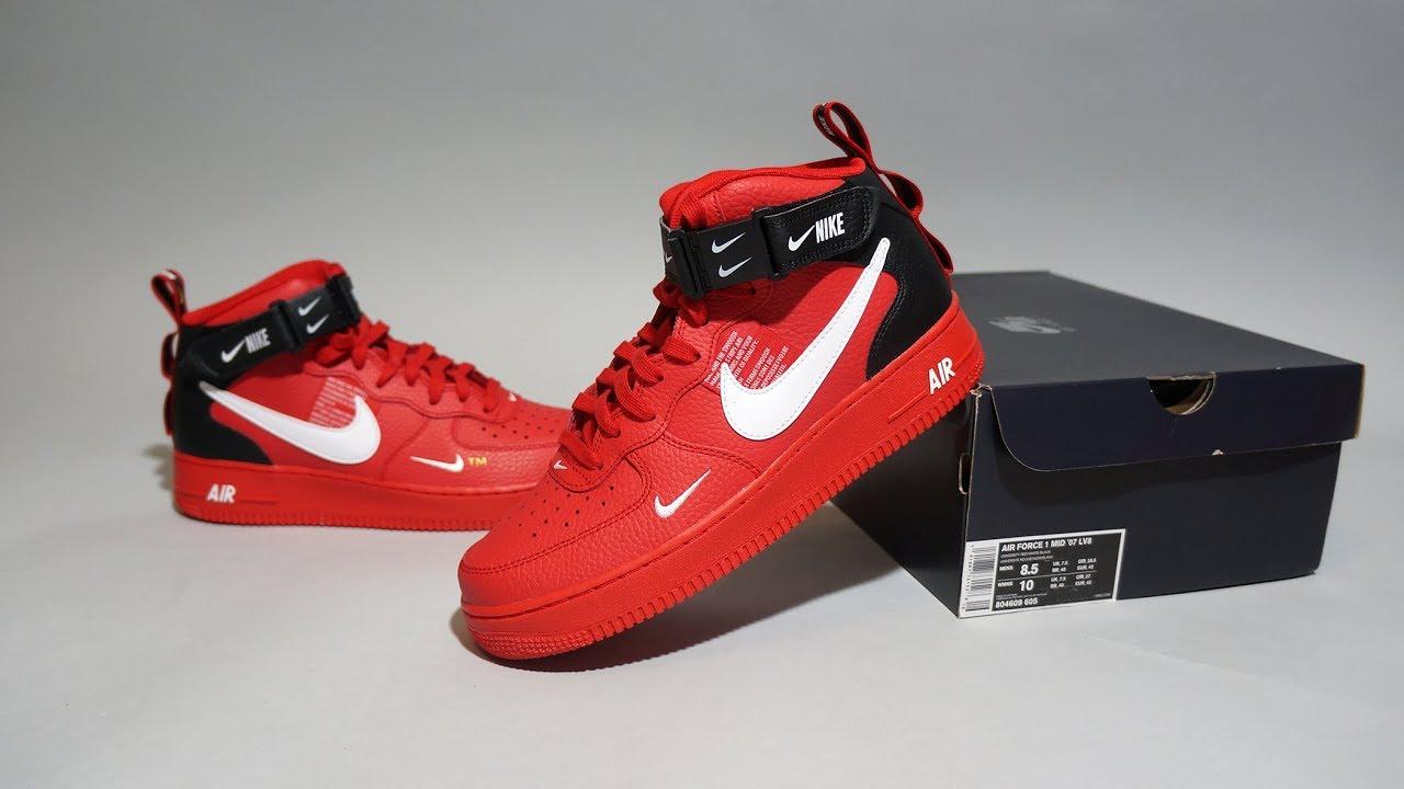 super popular 09017 66501 Nike Air Force 1 Mid  07 LV8 University Red White 804609-605
