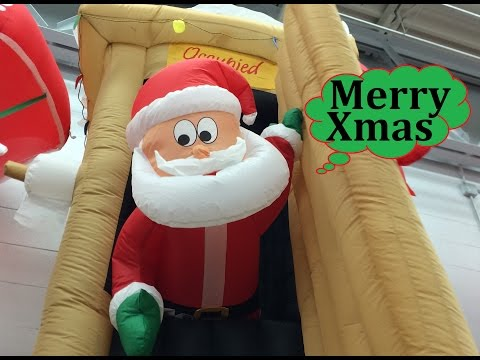 Walmart Christmas Inflatables Animated Airblown Santa Coming Out of Outhouse Scene 6' Tall