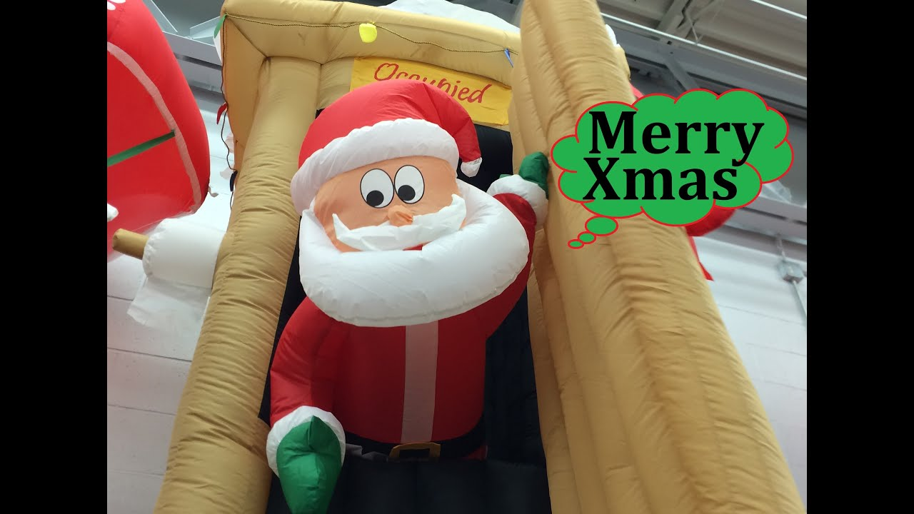 walmart christmas inflatables animated airblown santa coming out of outhouse scene 6 tall youtube