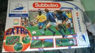 close up look at the very rare FOOTBALL SOCCER Subbuteo Set World Cup France 98 Boxed