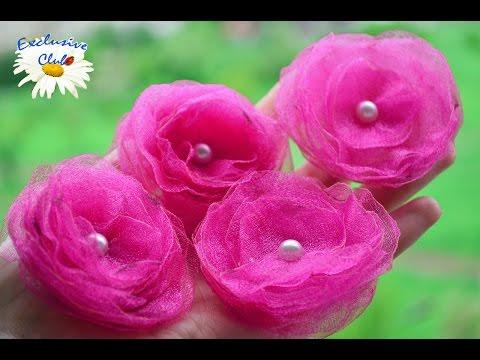 Цветы из ОРГАНЗЫ Своими руками / Мастер класс ЦВЕТЫ из ткани
