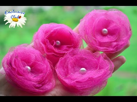 Белая роза из органзы Kanzashi Rose Tutorial YouTube