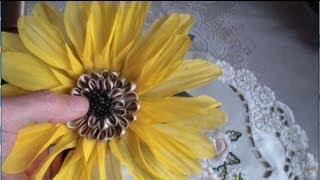 Как сделать подсолнух. Часть 3. Цветы из ткани