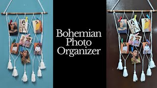 DIY Bohemian Wall Hanging Photo Organizer    Zig Zag Hanging Photo Organizer    Bohemian Home Decor