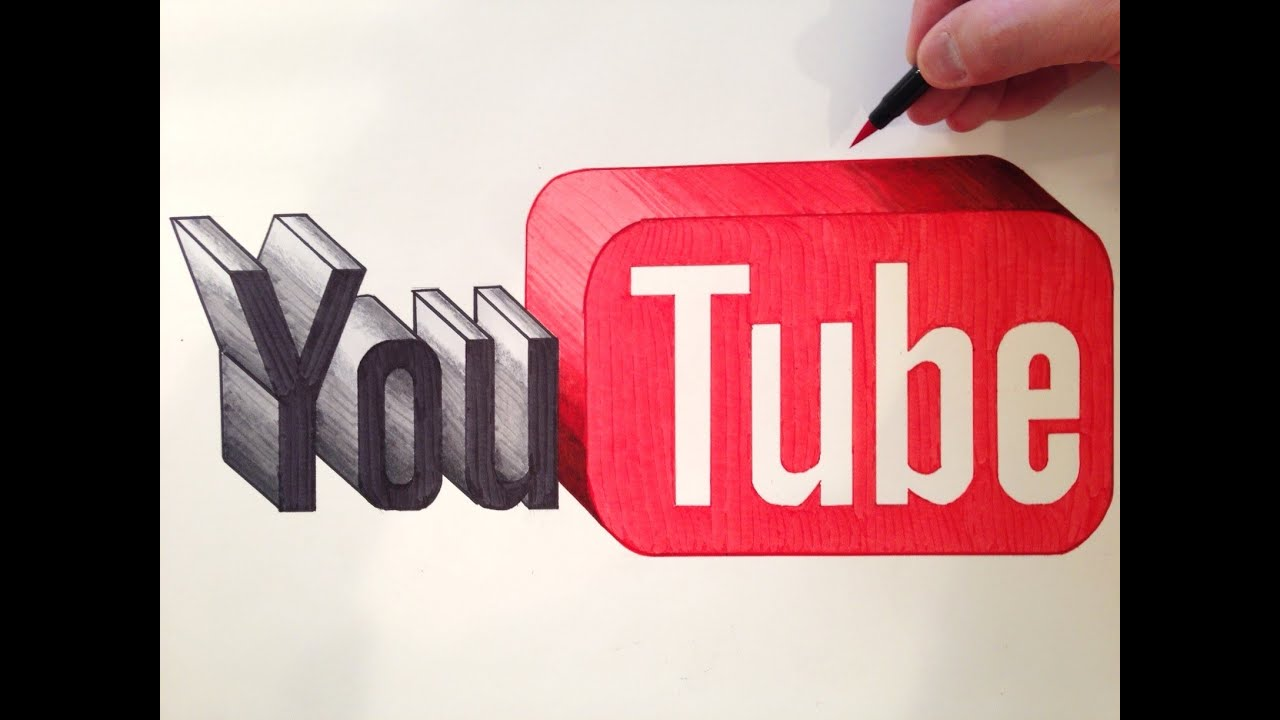 D Line Drawings You Tube : How to draw the youtube logo in d