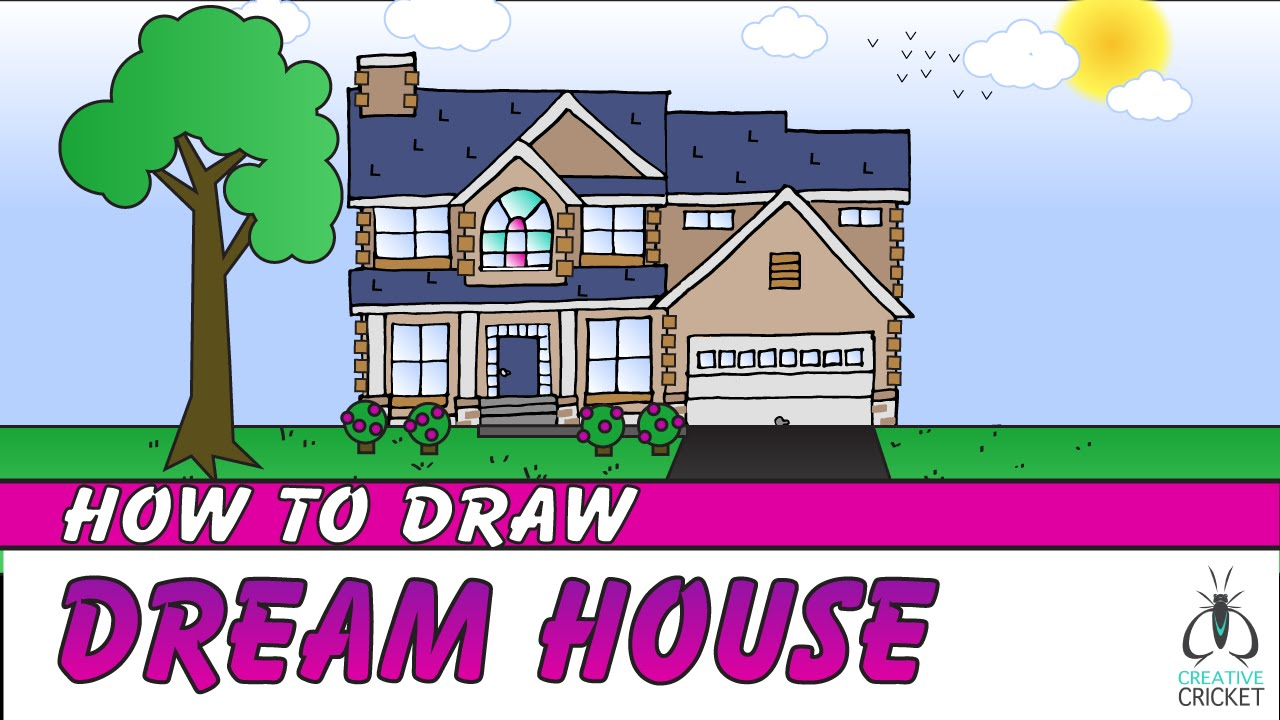 How To Draw A House Step By Step Art Lesson For Kids