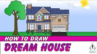 How to Draw a House Step by Step - Art Lesson for Kids
