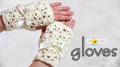 Crochet Bridal Fingerless Gloves - Classic Fan Stitch / Lace Pattern